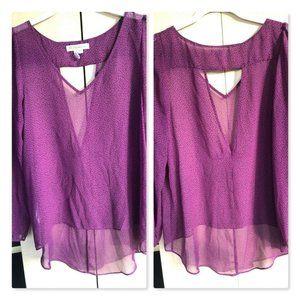 BCBGeneration Sheer Purple Hi-Low Blouse